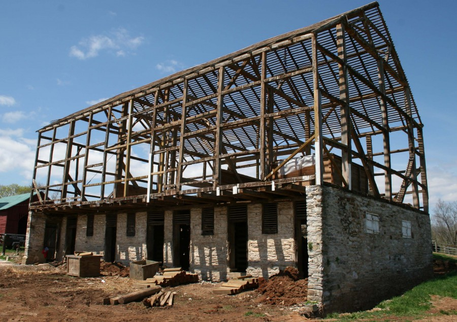 Bank Barn Restoration, Timber Frame, Masonry, Sheet Metal Roof