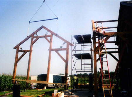 Timberframe Addition To Brick Residence