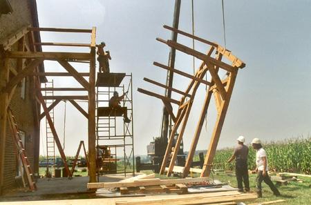 Timberframe Addition To Brick Residence