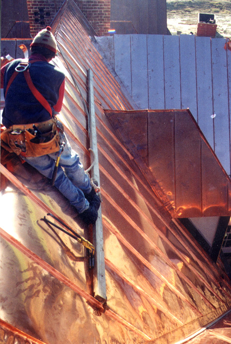 Standing Seam Copper Roof Installation Residential