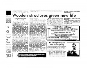 Frederick News Post Article, November 25, 1996.