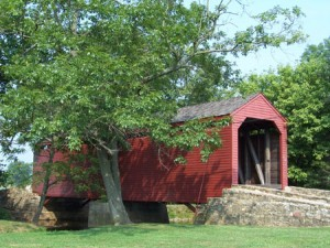 Loy's Station Covered Bridge, Thurmont, MD -- View of Bridge After Completion