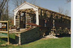 Utica Covered Bridge During Construction