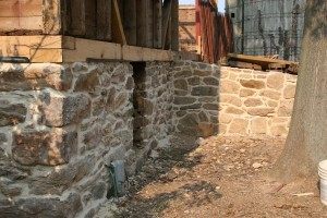 Existing stone foundation of the barn was re-pointed with an appropriate lime mortar at all exposed surfaces.