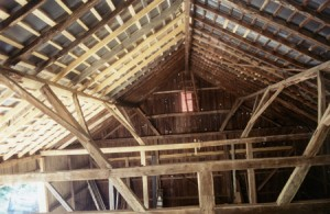 Dahlgren Street barn restoration project, finished view of interior framing.  It is not every day that you see an all walnut frame like this.