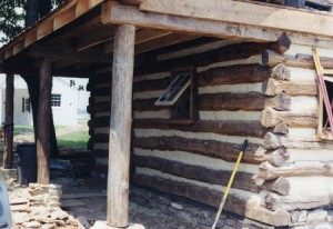 A newly constructed log cabin. The detailing and use of materials is such that even the experts have taken it for historic work at first glance.