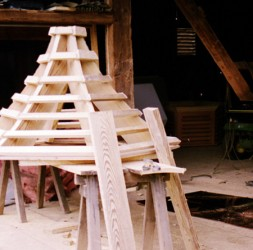 Framing for the octagonal cupola roof.