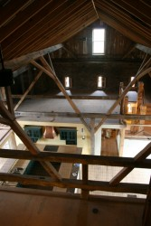 Bird's Eye View From New Loft Spaces Down to Kitchen on the Old Threashing Floor