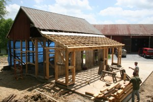 New Lean-To Addition Framing Matches Historic Joinery in Original Frame
