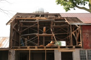 Reapairs in Progress -- Note New Tie Beam Timber Visible on Scaffolding