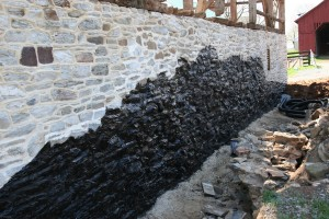 Foundation Repointed and Waterproofed Where Grade Will be Restored