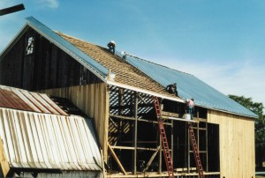 New Galvanized Standing Seam Roof Going Onto Bank Barn
