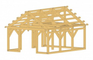 Rendering of the Bare Timber Frame