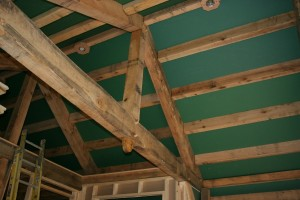 Smooth Wallboard Sets off the Rough Framing Members