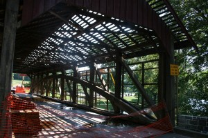 West roof and siding remover -- Clear view of Burr Arch Truss