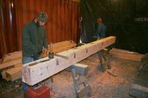 Cutting a large floor beam.  The pockets along each edge will hold floor joists.