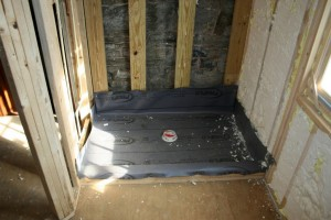 Shower pan liner installed, ready for tile.