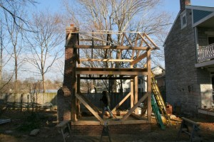 The chimney will be extended later to accommodate the raised frame height.