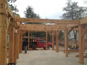 "There's our double beam, keyed together, to equal 20"" of solid oak.  It has to carry a major portion of the roof load at the center of its span."
